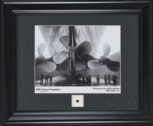 Titanic Propellers Print with Recovered Coal Piece Black Frame