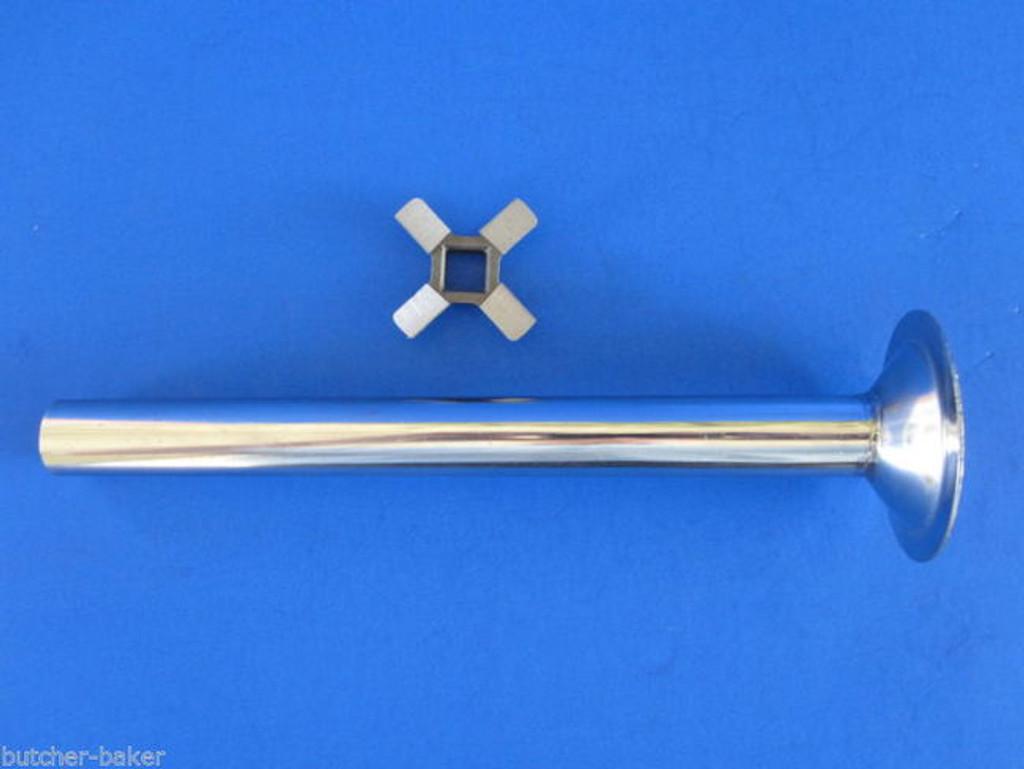 """New knife & 6"""" stuffing tube for VINTAGE Hobart Kitchenaid Mixer Meat Grinder"""