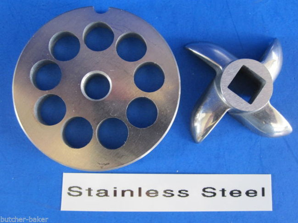"""#8 x 3/8"""" DISC PLATE & KNIFE SET Meat Grinder Grinding Stainless Steel"""