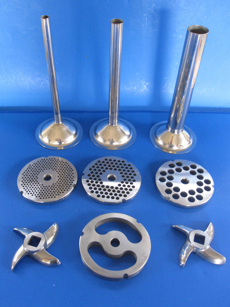"9 pc. set.  Stainless Steel parts.  Size #32 meat grinder tubes, plates and knives.  Tubes are 1/2"", 3/4"" and 1 1/4"" diameter.  Grinding plates are 1/8"", 1/4"" and 1/2"" holes for a variety of meat textures.  Two sharp swirl design knives."