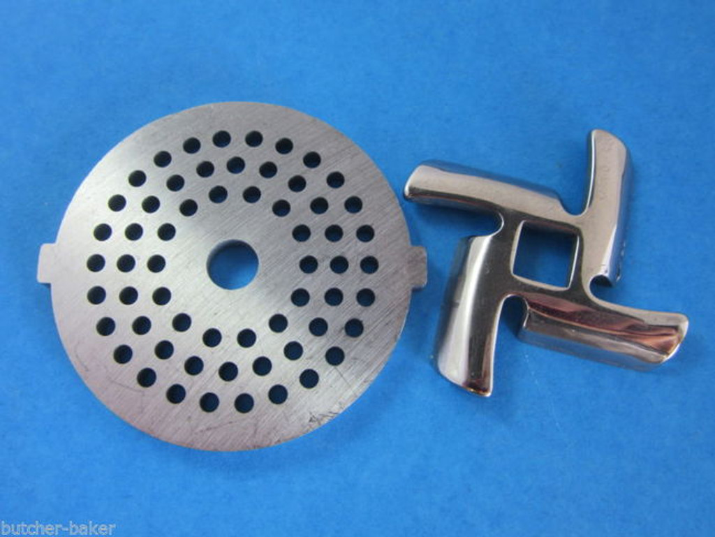 "1/8"" Meat Grinder plate disc & knife for Waring Pro Oster & Back to Basics"