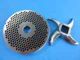 """#42 with fine 1/8"""" grinder holes.  Plus a new sharp stainless steel meat grinder knife"""