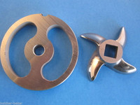 #22 Stainless Meat Grinder Sausage Stuffing Stuffer Kidney Plate & Knife