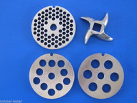 #8 (4) pc COMBO SET Meat Grinder Grinding plate disc knife blade Stainless Steel