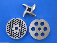 #8 (3) pc COMBO SET Meat Grinder Grinding plate disc knife blade Stainless Steel