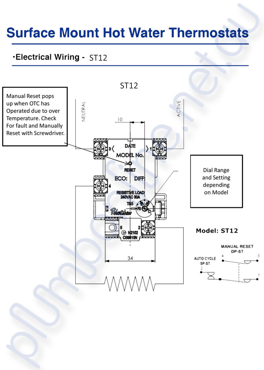 Robertshaw ST1205134 |ST 12-80K Surface Mount Hot Water Thermostat on