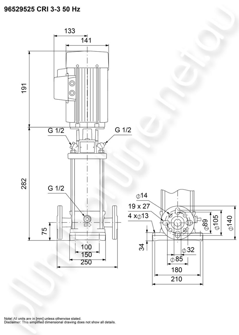 Grundfos CRI3-3 Vert non-self-priming multistage inline pump