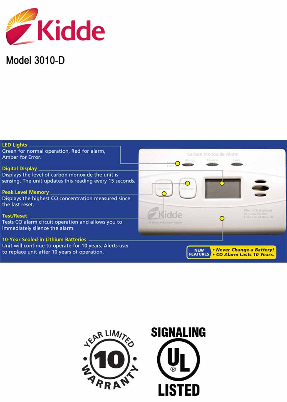 Carbon Monoxide Alarm with Digital Display and 10-Year Sealed Battery Kidde  C3010D
