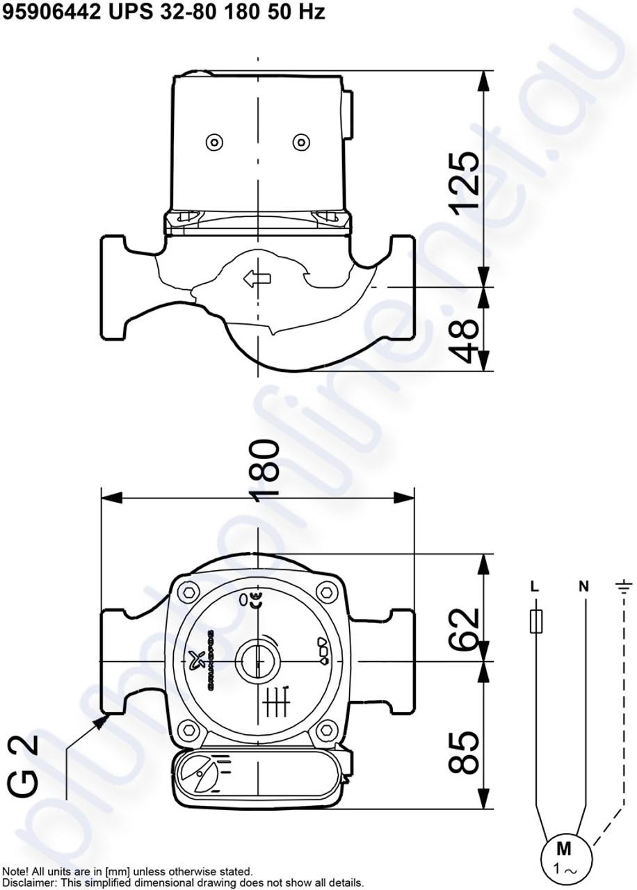 Grundfos Ups 32 80 180 Light Commercial Domestic Circulators Pompa Celup Kp 150a Pump 240v Dimensions