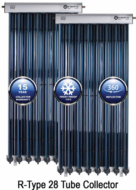 Evacuated Tube Solar Hot Water Collector G2 TECH R-Type 28 Tube