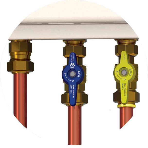 Gas Hot Water Continuous Flow Installation Valve Kit Quickie-U