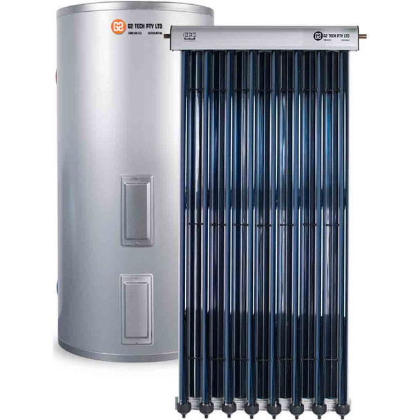 Evacuated Tube Solar Hot Water | Stainless Steel Electric | 250Lt 10 Tube System