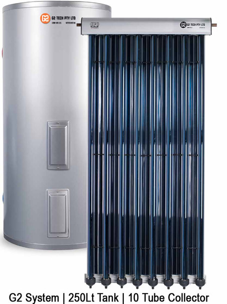 Evacuated Tube Solar Hot Water | Stainless Steel Electric | 250Lt 10 Tube
