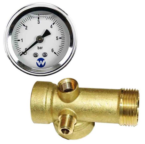 DAB Pressure Pump Bronze 5 Way Connector Tee & 6 Bar Pressure Liquid Filled Gauge Kit
