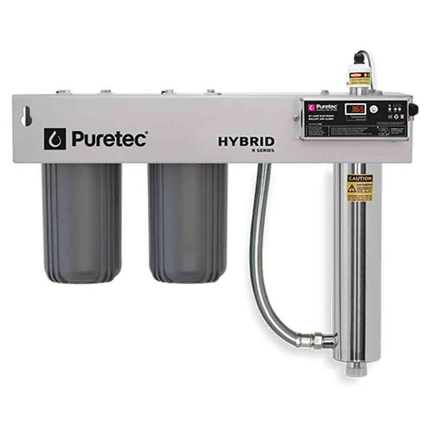 """Puretec Hybrid R1 Dual Stage Whole House Filtration Ultraviolet Protection Reversible Mounting Bracket   75 Lpm 1"""""""