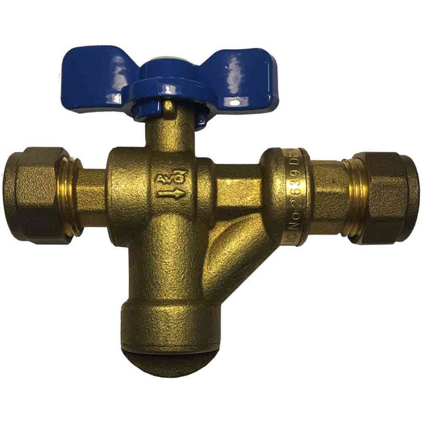 AVG NON RETURN ISOLATING VALVE Copper x Copper 15mm with strainer