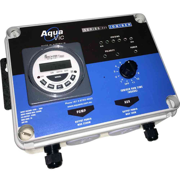 Aquavic SERIES 3 Fresh Water Pool Copper Silver Ioniser Electronic Controller