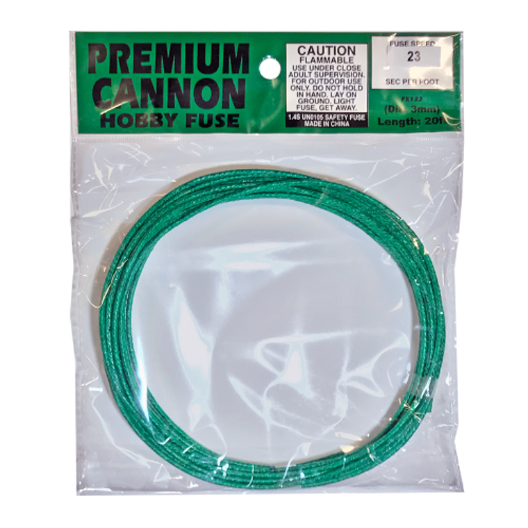 Contains 1 individually bagged 20ft. roll of high quality 3mm Premium Cannon Fuse. Tested Fuse Speed (2017) = 22-23sec per ft