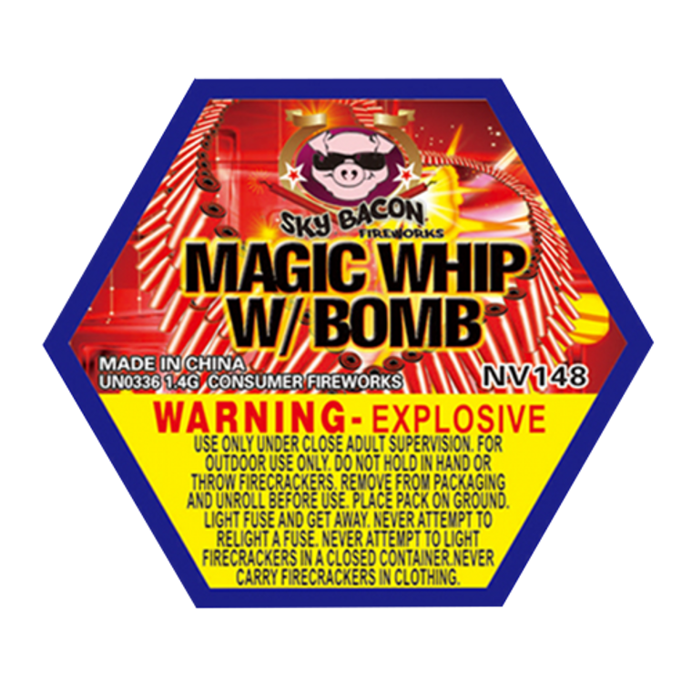 A firecracker-type effect that is legal for safe and sane states. Loud magic-whip firework with a head bomb.