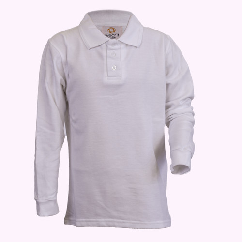 White Long-Sleeve Polo - Youth