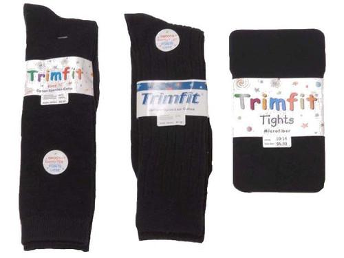 Grey Cotton-Flat Knit Tights - Adult