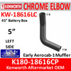 "K180-18616CP Kenworth Left Side CHROME Elbow for 45"" Steps"