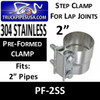 "2"" Preformed Exhaust Pipe Band Clamp STAINLESS STEEL PF-2SS"