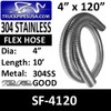 "4"" x 120"" .018 Flex Exhaust Hose 304 Stainless Steel FTS40019X10"