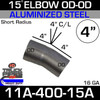 "15 Degree Short Radius Exhaust Elbow 4"" x 4"" Legs OD-OD ALZ"