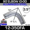 "90 Degree Exhaust Elbow 3.5"" x 12"" ID-OD Aluminized"