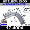 """90 Degree Exhaust Elbow 4"""" x 18"""" Legs ID-OD Aluminized L400"""
