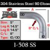 """5"""" 90 Degree 304 SS Elbow 14.5"""" x 14.5"""" ID-OD 1-508 SS"""