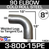 """8"""" Exhaust 90 Degree Elbow 18"""" x 18"""" square OD-OD Cold Rolled 3-800-15PE"""