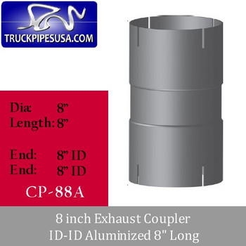 """8 inch Exhaust Coupler ID-ID Aluminized 8"""" Long CP-88A"""