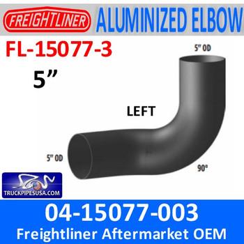04-15077-003 Freightliner 90 Degree Elbow Left ALUMINIZED FL-15077-3