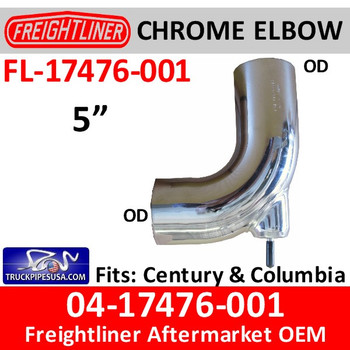 A04-17476-001 Freightliner CHROME Bolt On Elbow FL-17476-001C