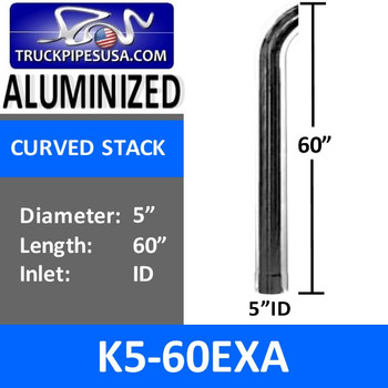 "5"" x 60"" Curved Exhaust Tip with ID Bottom ALUMINIZED K5-60EXA"