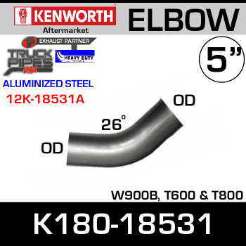 "K180-18531 Kenworth Exhaust 26 degree Elbow 5"" OD Ends"
