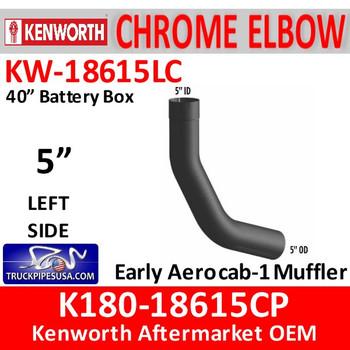 "K180-18615CP Kenworth Left Side CHROME Elbow for 40"" Steps"