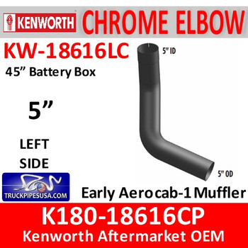 "K180-18616CP Kenworth Left Side CHROME Elbow for 45"" Steps"