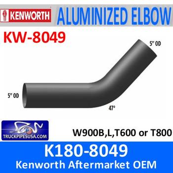 "K180-8049 Kenworth 5"" Exhaust 47 Degree Elbow OD/OD"