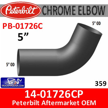 "14-01726CP Peterbilt 359 Exhaust 5"" CHROME elbow 67 degree"
