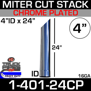 "4"" x 24"" Stack Pipe ID End - Chrome Miter-Angle Cut"