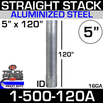 "5"" x 120"" Stack Pipe ID End - Aluminized Square Cut 1-500-120A"