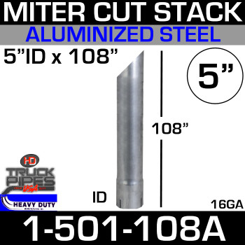 "5"" x 108"" Stack Pipe ID End - Aluminized Miter-Angle Cut 1-501-108A"