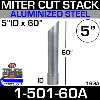 """5"""" x 60"""" Miter Cut Aluminized Exhaust Stack ID Ends SP150060"""