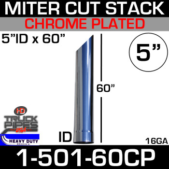 """5"""" x 60"""" Stack Pipe ID End - Chrome Miter-Angle Cut"""