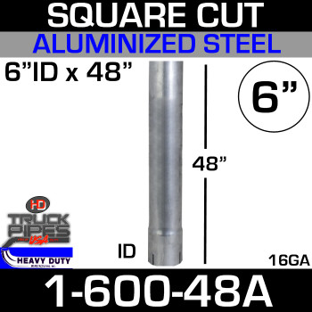 "6"" x 48"" Stack Pipe ID End - Aluminized Square Cut 1-600-48A"