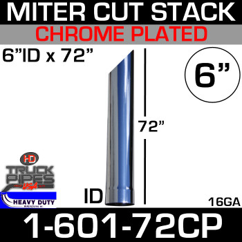 "6"" x 72"" Stack Pipe ID End - Chrome Miter-Angle Cut 1-601-72CP"