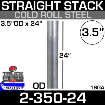 "3.5"" x 24"" Stack Pipe OD End - Steel Square Cut 2-350-24"